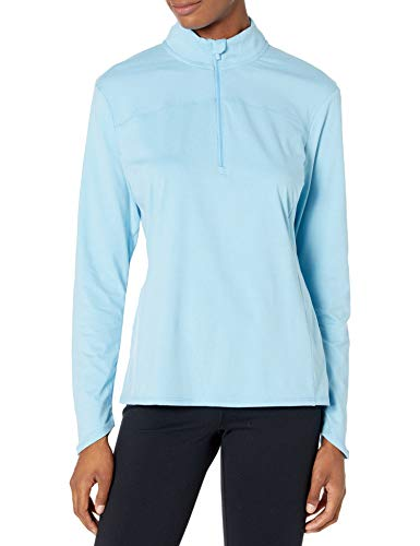 PGA TOUR Women's Standard 1/4 Zip Long Sleeve Fleece, Etheral Blue Heather, Large