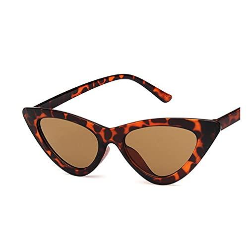 LEYIS Gafas de Montar Gafas de Pesca Retro Vintage Gafas de Sol Vintage Cateye Gafas Sexy Pequeño Gato Ojo Gafas de Sol para Las Mujeres (Color : Leopard Print)