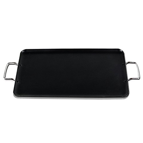 Gourmet Chef 19 inch Double Burner Griddle Pan - Heavy Duty Aluminum Layered Non-stick Interior Coating Cooking Surface for Stovetop Pancakes, Omelettes, Bacon