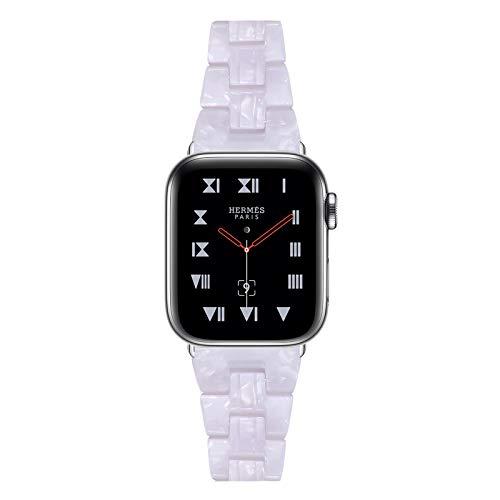 Fhony Compatible con Apple Watch 38Mm 40Mm 42Mm 44Mm Iwatch Series SE/6/5/4/3/2/1 Correa de Resina con Hebilla de Acero Inoxidable Correa de Repuesto Publicación Rápida,Shining White,38/40mm
