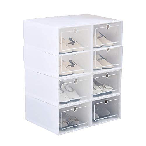 Ikaif 8 Unidades De Caja De Zapatos Apilable, Caja De Almacenamiento De Zapatos De Plástico Transparente para Hombres Y Mujeres De Gran Tamaño con Puerta Transparente (White)