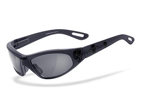Helly® - No.1 Bikereyes® | Flex-Scharnier, UV400 Schutzfilter, HLT® Kunststoff-Sicherheitsglas nach DIN EN 166 | Bikerbrille, Motorradbrille, Sportbrille | Brille: black angel - tribal black