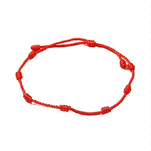 2 pulseras de hilo rojo de 7 nudos para protección, buena suerte para el éxito y la prosperidad, pulsera de la amistad, 1