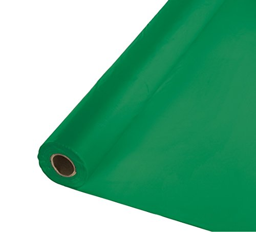 Creative Converting Roll Plastic Table Cover, 100-Feet, Emerald Green