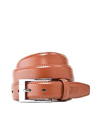 Vincenzo Boretti Herren-Gürtel mit silberfarbener Dornschließe, matt-glänzendes Leder, schmal 30 mm Breite cognac 100 cm
