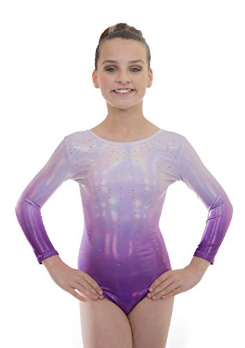 Velocity Dancewear Deluxe Brilliance Gymnastics Leotards for Girls (Brillance Purple (Long Sleeved), 11-12 Years)