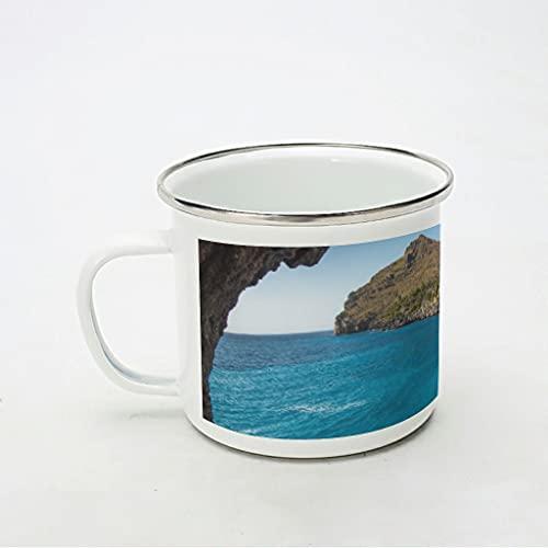 KittyliNO5 Taza esmaltada con diseño de lago, agua, rocas, paisaje, ligera e irrompible, ideal como regalo para los amantes del café, color blanco, 350 ml