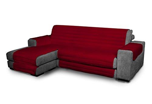 Italian Bed Linen Elegant - Funda Protectora para Sofá Chaise Longue Izquierdo, Microfibra, Burdeos, Medida del asiento 290 cm + cubre brazos laterales