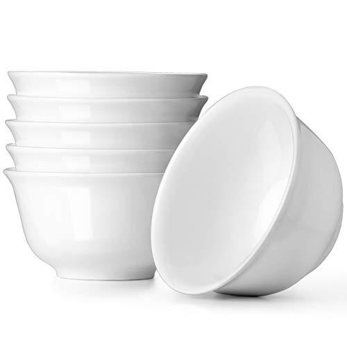 DOWAN - 1064ml Set di 6 ciotole da portata bianche da per insalata, pasta, zuppa profonda, per cucina e cene in famiglia, lavabili in lavastoviglie nel forno a microonde, set da 6