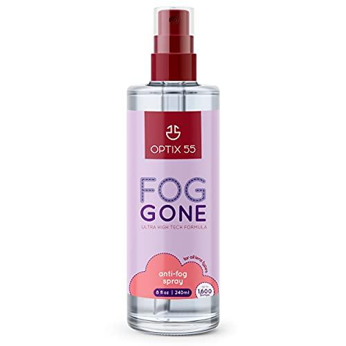 Optix 55 New Anti Fog Spray for Glasses - Safe for Anti Reflective Lenses & All Lenses | Defogger for Eye Glasses, Mirrors, Swim Goggles (8oz)