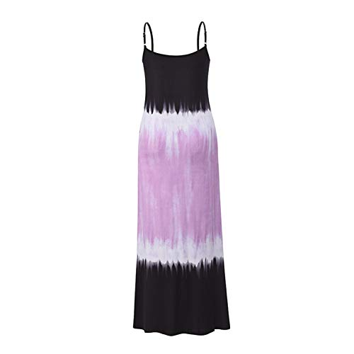 Damska Lato Długa Sukienka Casual Loose V Neck Sukienka Bez Rękawów Beach Cover Up Cami Maxi Sukienki Letnie ubrania na co dzień (Color : Purple, Size : Small size)