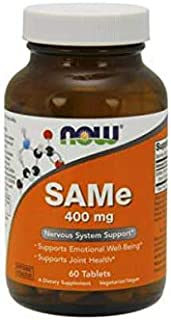 NOW Supplements, SAMe (S-Adenosyl-L-Methionine) 400 mg, Nervous System Support*, 60 Tablets
