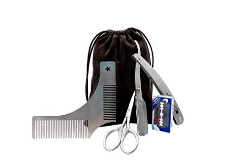 Beard Grooming Kit for Men, Beard Shaping Styling Gift Set with Inbuilt Comb, Straight Edge Razor, 10 Double Edged Blades, Scissors &Bag – 3 In 1