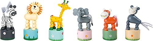 Small Foot 7924 Animaux-poussoir Afrique, jeu de figurines en bois, six animaux différents en bois, à partir de 3 ans