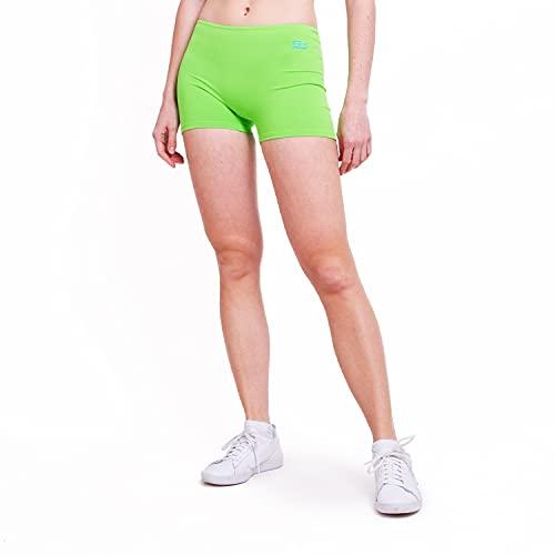 Sportkind Mädchen & Damen Kurze Sport Shorts, Turnhose, Gymnastikhose, Laufshorts, atmungsaktiv, hellgrün, Gr. 140