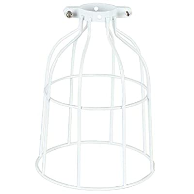 Vintage Industrial Metal Wire Cage, DIY Lamp Shade Replacement Accessories, Upgrade White, for Hanging Pendant Lighting