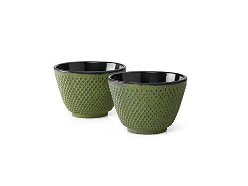 asiatische Teebecher Gusseisen Jing grüne Noppenstruktur 2er Set