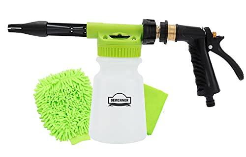 DEWINNER Autowaschschaumkanon, Schaum-Blaster, Schnellentriegelungs-Seifenwaschpistole, schnelles Anschließen an Gartenschlauch, Schneeschaumlanze, Auto-Waschsprüher, mit Reinigungsset