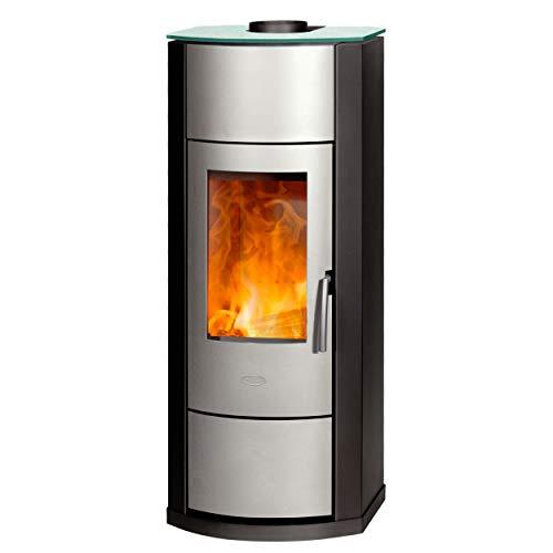 Fireplace K2953 Nero wasserführender Kaminofen Stahl Schwarz/Silber/A+