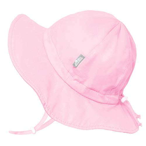 JAN & JUL Cotton Foldable Baby Newborn Sun-Hat for Girl with Strap (S: 0-6 Months, Pink)