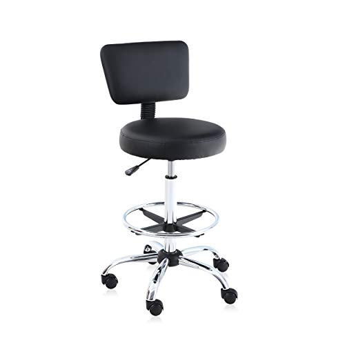 ALPHA HOME Office Chair Drafting Chair Ergonomic Office Chair Desk Chair Medical Spa Stool Support Modern Executive Mid Back Rolling Swivel Adjustable Computer Chair,Black