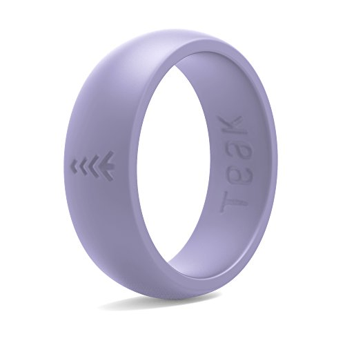 Teak Silicone Wedding Ring for Women. Rubber Wedding Band for Every Day Use - Yoga, Training, Sports, Military, Work, Travel and Outdoor (Lavender, 7)