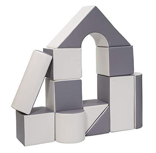 Velinda 11 Großbausteine Schaumstoffbausteine Bauklötze Riesenbausteine Schloss-Set (Farbe: weiß,grau)