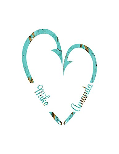 Best Fishing Heart Couples Sticker decal Teal Camo
