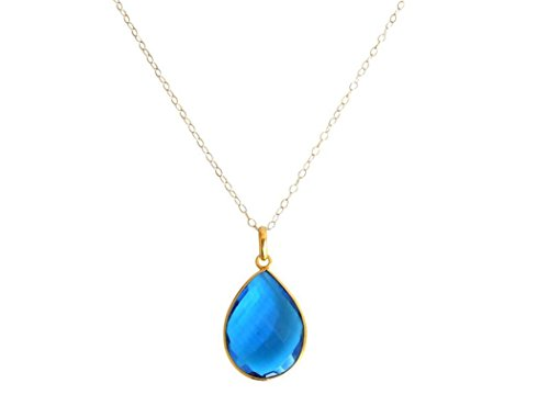 Gemshine - Damen - Halskette - 925 Silber - Vergoldet - Quarz - Topas - Blau - CANDY - Tropfen - 60 cm