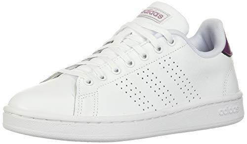 Adidas Women's Advantage Sneaker, White/White/Cherry Metallic, 9 M US