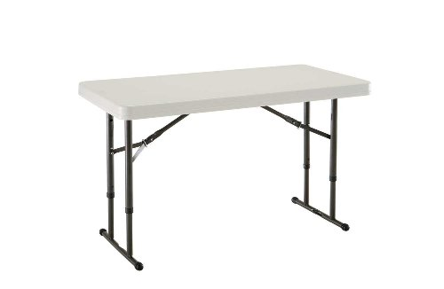Lifetime 4' Commercial Adjustable Height Folding Table Tabletop with Bronze Frame, Almond