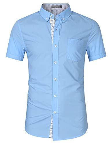 Camisa Casual Hombre Manga Corta Básica Ajustada Botones Tapeta Hombre Camisa Punto Ola Verano Bolsillos Empalmar Hombres Camisa Funcional Urbanos Hombres Camisa Negocios C-Blue XXL