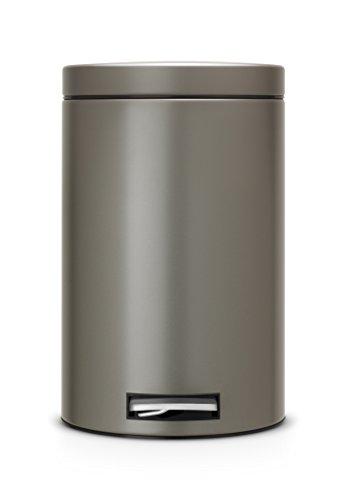 Pedal Bin   Cubo de Basura, 12 litros, Cubo Interior de plástico extraíble, Color Platino