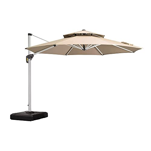 PURPLE LEAF 11 Feet Patio Umbrella Outdoor Round Umbrella Large Cantilever Umbrella Windproof Offset Umbrella Heavy Duty Sun Umbrella for Garden Deck Pool Patio, Beige