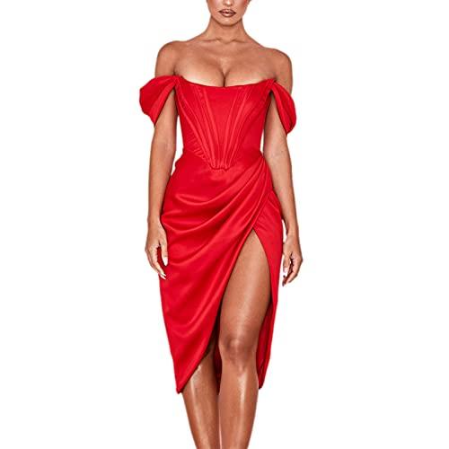 Shvaility Vestidos elegantes para mujer sin hombros descubiertos, sin espalda, sin mangas, vestido de fiesta de club, rosso, S