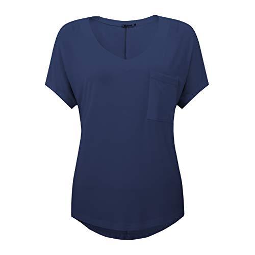 Yidarton Women Long Sleeve Plaid Shirt V Neck Casual Loose Pocket Button Down Shirts (XX-Large, Grey)
