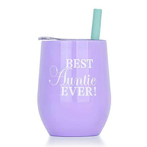 Aunt Wine Tumbler with Lid, 12 Oz | Double Wall Vacuum Insulated Travel Tumbler Cup for Coffee, Wine, Cocktails, Ice Cream as Auntie's Gift ...