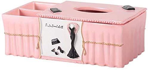 WYJW Roze Kunststof Europese Multifunctionele Papier Handdoek Doos, Gepersonaliseerde Desktop Afstandsbediening/rook Doos, Woonkamer Papier Zuignap Box 24 * 13 * 9cm