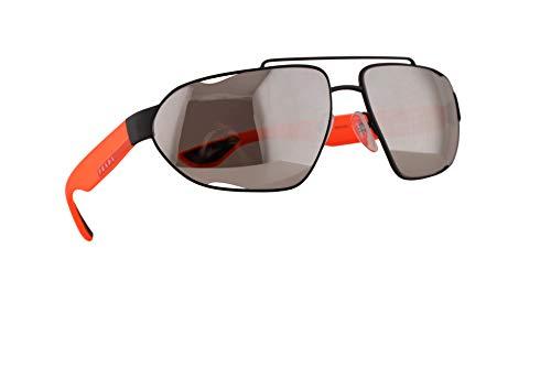 Prada SPS 56US Sonnenbrillen Schwarz Gummi Mit Silbernen Verspiegelten Gläsern 66mm 4522B0 PS 56US PS56US SPS56U