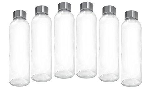 Ewei's Homeware 6 Pack - 18oz Leak-Proof Juice Containers, Glass Water Beverage Bottles |