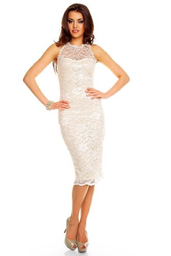 Fashion Deluxe Damen Cocktailkleid Etuikleid aus Spitze Business Look Creme L