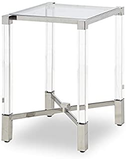 Strange DNA Harper End Table | Square Tea & Cocktail Tempered Glass Side Table | Stainless Steel Frame With Glass Acrylic Legs Accent Furniture for Bedroom, Dining Room or More - 16.5