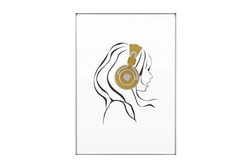 KunstLoft® Acryl 3D wanddecoratie 'Musik de Luxe' 50x70cm Goud Zwart vrouw