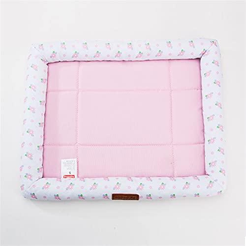 FENGNANMY Naturelles Perles Tapis de lit de Refroidissement d'été d'été Facilement Respirant et Confortable pour Les Chiens Chat et Animaux de Compagnie (Color : Pink, Size : M)