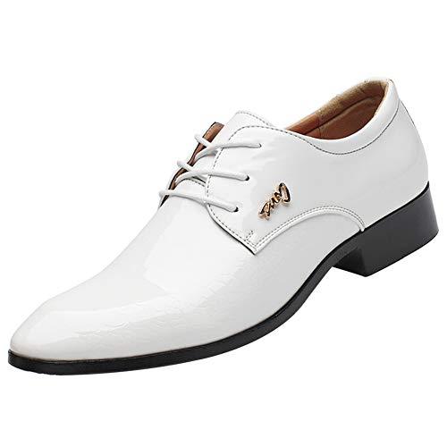 zpllstratos Chaussures de Ville à Lacets Derbys Oxford Cuir Vernis Homme Bout Pointu Chaussures Mariage Business Costume(Blanche,43 EU)