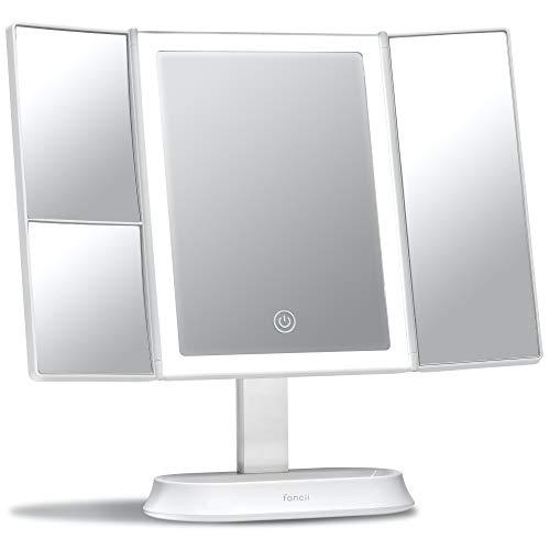 Fancii Espejo Maquillaje con Luz y Aumento 5x y 7x, Espejo de Mesa Cosmético con 40 Luces LED Naturales Regulables, Pantalla Táctil, USB o Batería y Soporte Ajustable - Sora (Blanco)