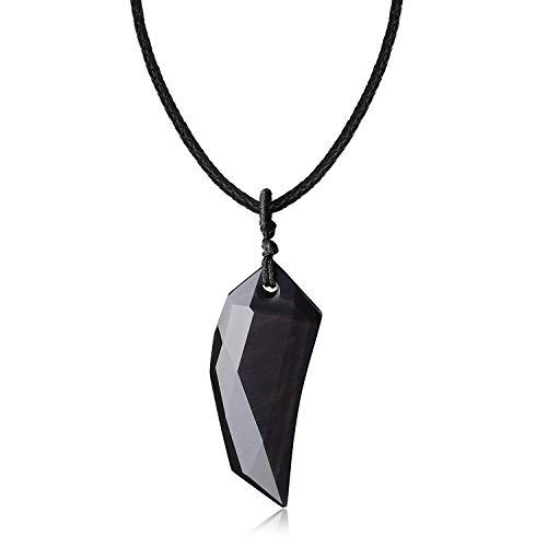 coai Unisex Surferkette Mehrfasen Spitzer Anhänger Wolfszahn Anhänger aus Obsidian Lederkordel
