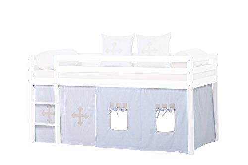 Hoppekids Bettvorhang Gardinenset inkl Gardinen Drahtseil für Halbhochbett, Spielbett Maße 90 x 200 cm, hellblau, Textil, Fairytale Knight, 200 x 90 x 72 cm