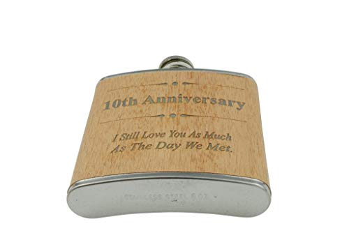 10th Anniversary Hip Flask 10 Year Anniversary Gift for Him