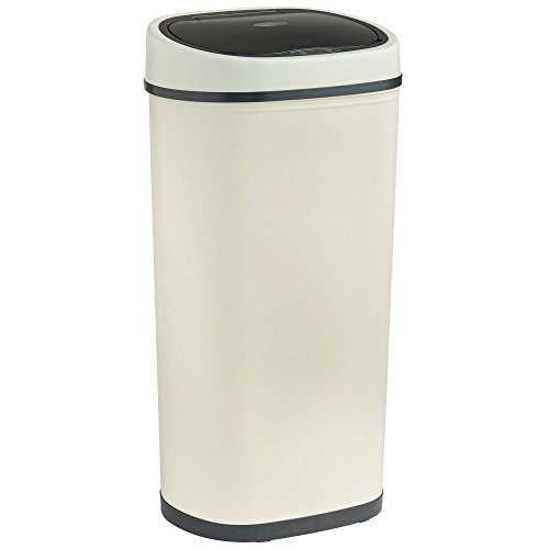 An image of the VonHaus 50L Sensor Bin Automatic Touchless Kitchen Waste Dustbin Cream LED Motion Detection Lid Robust Metal Body with Steel Finish
